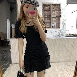 Sweet Xuan black dress 2021 new female spring and summer temperament sweet French a-line tea break skirt