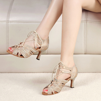 Women's Ballroom Latin dance Shoes Group purchase of Latin dance shoes adult wome diamond with diamond friendship dance shoes soft sole medium high heel dance square dance shoes