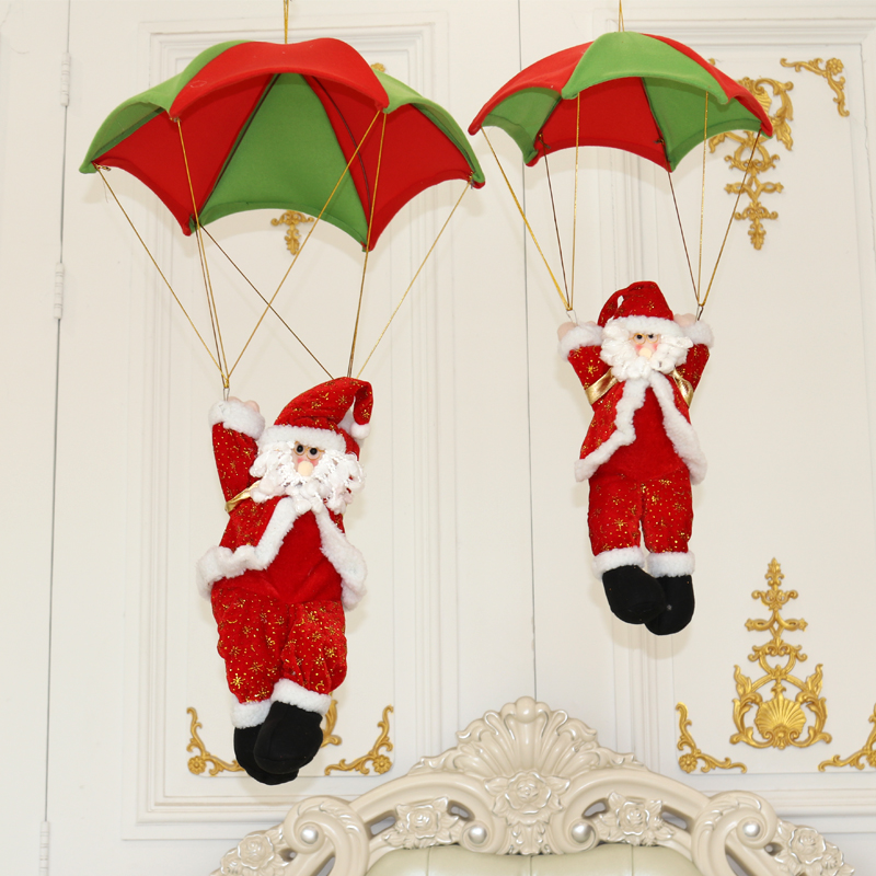 Christmas Decoration Parachute Santa Claus Skydiving Shopping Mall Pendant Hotel Ceiling
