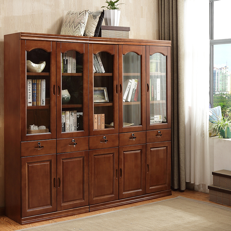 Simple Modern Chinese Bookcase Solid Wood 2 Doors 3 Free Combination Assembly Study Bookshelf