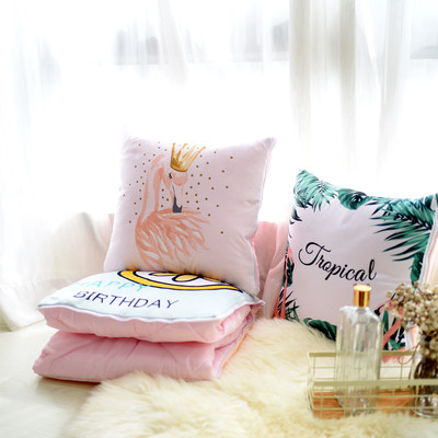 Nordic style flamingo plush sofa car pillow small quilt dual-use nap pillow cute pillow ins