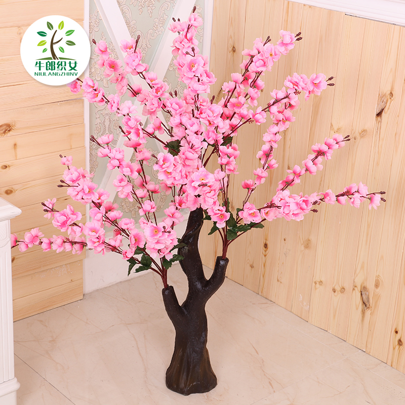 Simulation Peach Fake Tree Potted Living Room Decoration Peach Blossom  Flower Indoor Tree Fake Plastic Plant ...