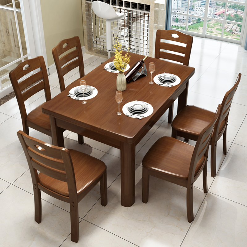f8649b42115 All Solid wood dining table and chair combination modern simple small type  Chinese dining table rectangular west table 4 people log