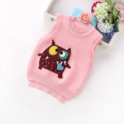 2017 autumn new Korean children's clothing boys and girls wool knitted vests cotton children's baby sets the first