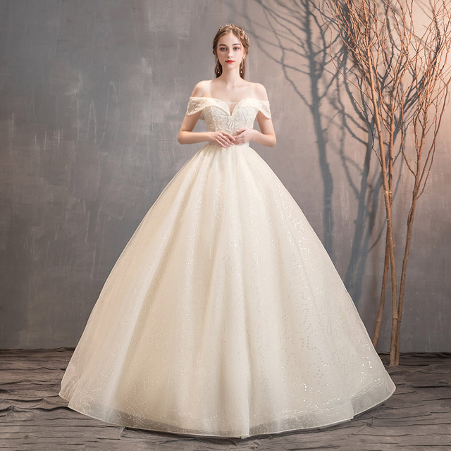 Champagne Colored Mori Style Shoulder Wedding Dress 2020 Summer New French Bride Super Fairy Buling Net,Best Wedding Dress Designers 2020