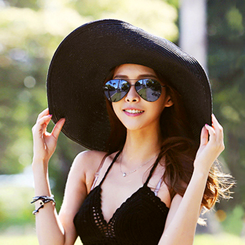 4fa44142 Straw hat female beach hat summer seaside holiday big sun hat riding out  big sunshade sun ...