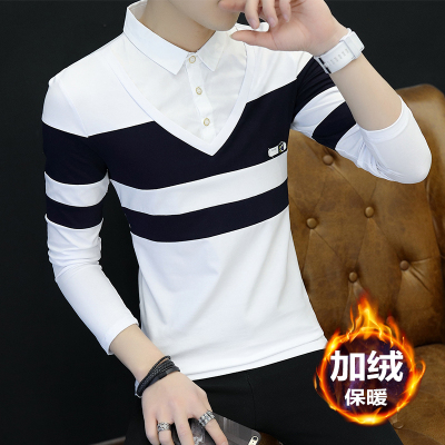 Winter plus velvet bottoming shirt men's long-sleeved t-shirt 丅 桖 led the fake two warm men's shirt outside the soil