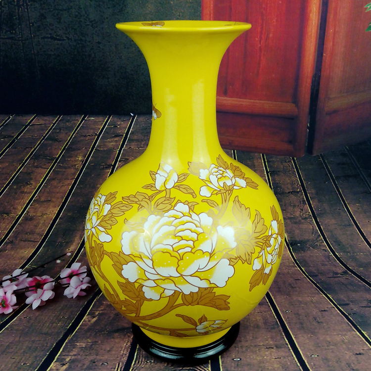 Jingdezhen Ceramic Large Imperial Yellow Bottle Vase Ornaments Home Living Room Feng Shui Lucky Porcelain Ornaments