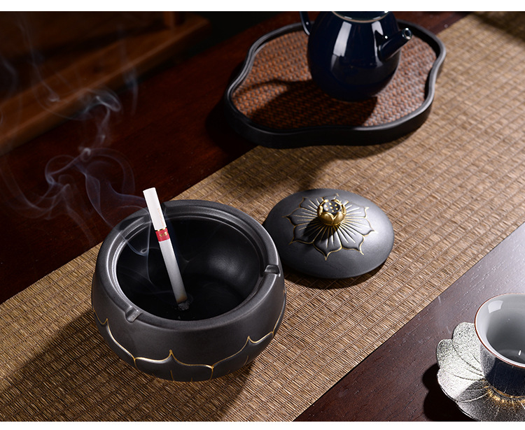 Restoring ancient ways is the tea taking ashtray with cover the fly creative living room home office stone grain ceramic ashtray