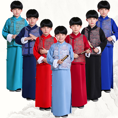 Boys and children's cross talk costume Mandarin coat Republic of China Long Gown kids tai chi kungfu Robe ancient children's clothing Tang Dynasty costums Hanfu suit for kids