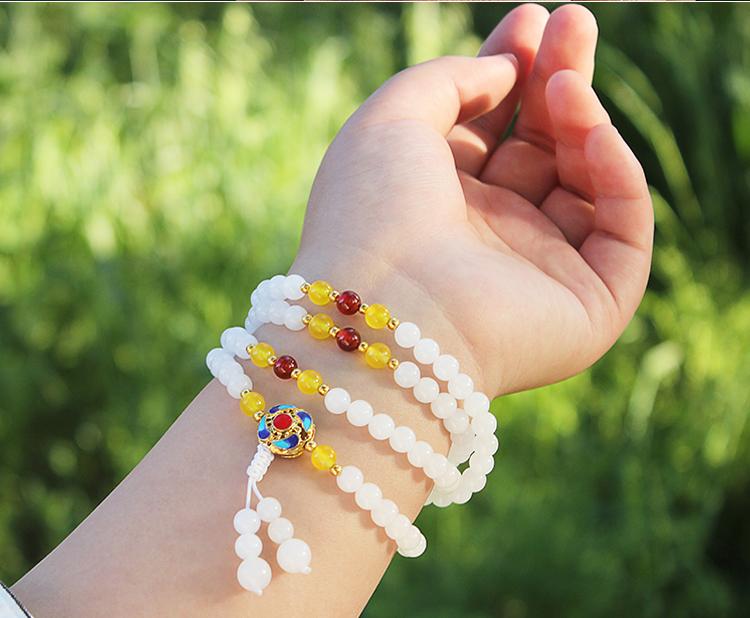 【良緣閣】天然正品新疆崑崙白玉手鏈108顆玉石手串女士佛珠項鏈手飾