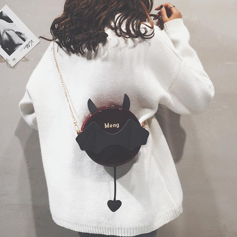 漆皮链条小圆包搞怪卡通少女小包包女2018新款韩版百搭单肩斜挎包