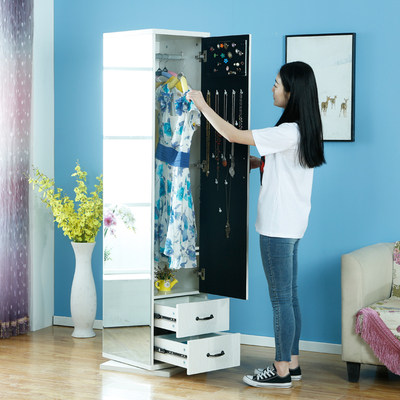 Wearing mirror coat room system floor mirror simple modern living room storage cabinet multi-function rotary fitting mirror