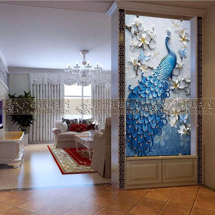 Гостиная с художественным стеклом дверь История закаленной картины, резной, европейский стиль синий павлин
