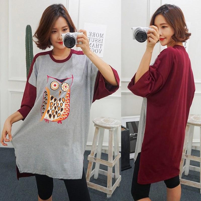 夏季新款宽松大码猫头鹰卡通睡裙韩版中长款短袖T恤女体恤裙学生