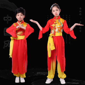 Chinese dragon drummer performance costumes for boy girls National style drum clothing modern dance Yangko costume performance clothing children drum clothing