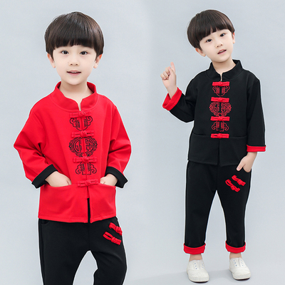Children Chinese style boy Hanfu clothing red boy national style spring baby man ancient Chinese costume Tang suit
