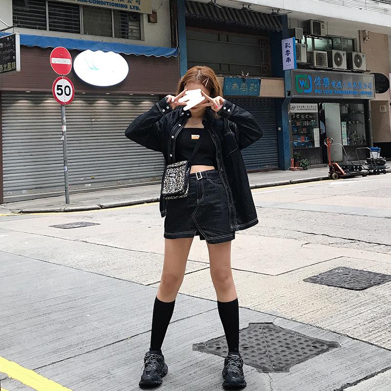 王半身的店2019春夏新款黑色学生短裙牛仔不规则a字高腰少女韩版
