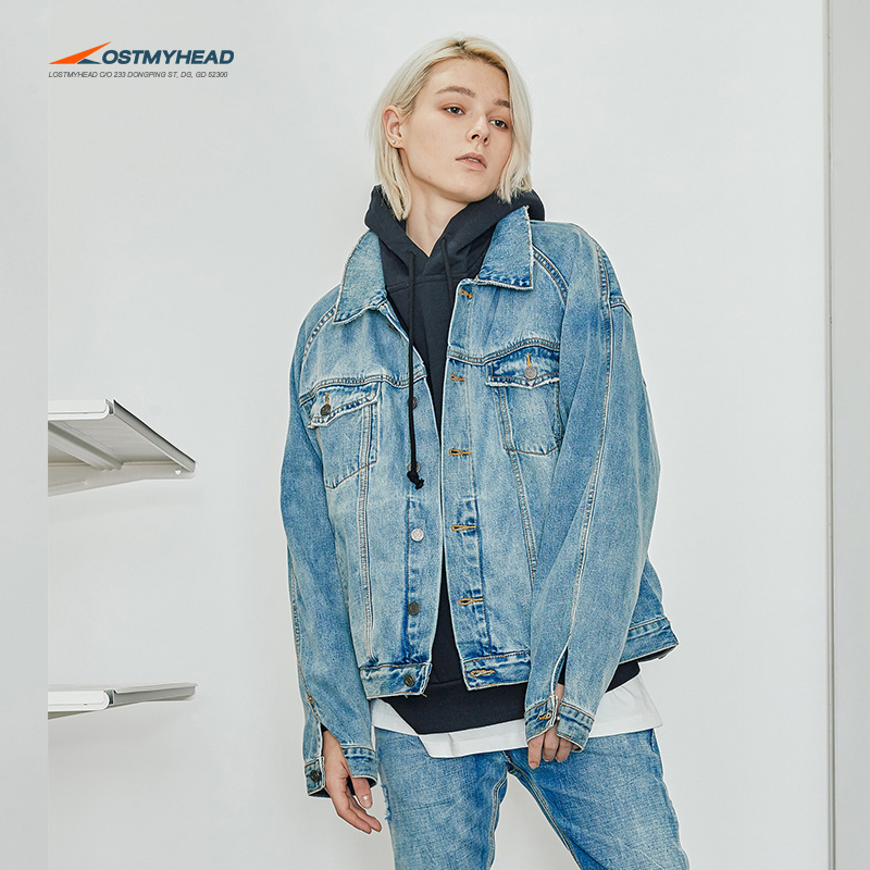 2025f1611c3 LOSTMYHEAD denim jacket male country Tide loose gown country Tide bf Wind  Jacket FEAR OF GOD FOG