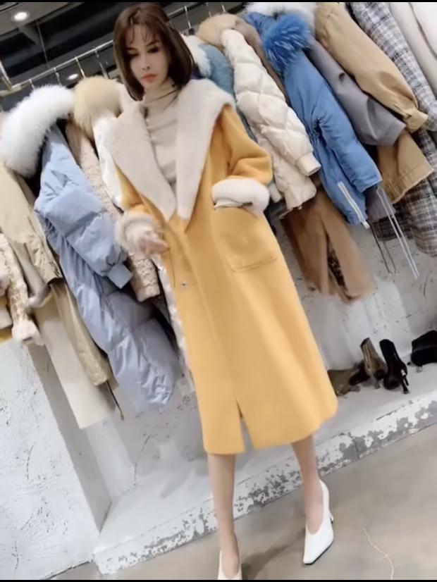 HJ新羊绒欧韩货2019冬季新款12.27奢华毛领水貂女郎大衣高贵气质