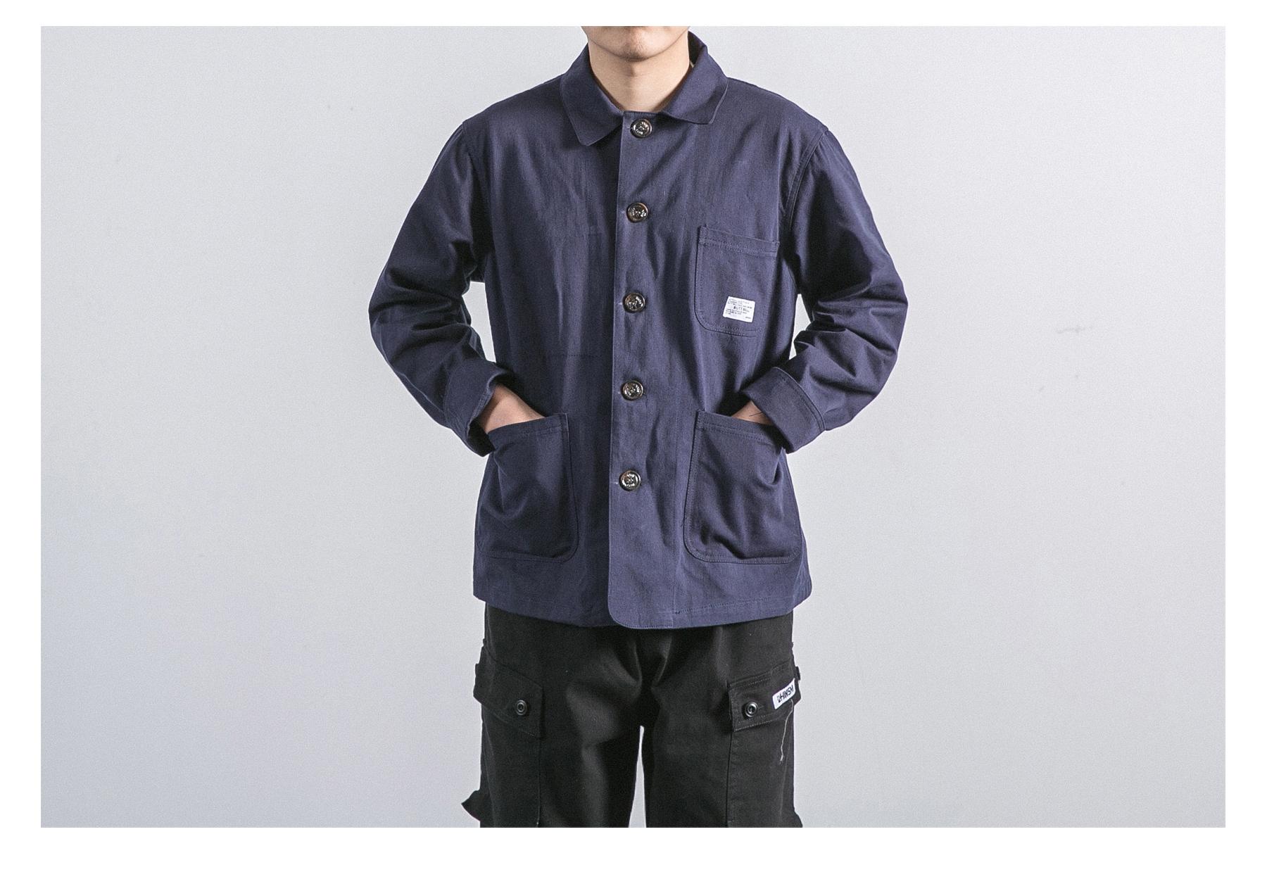18SS American gió quân retro xu hướng ba túi dụng cụ áo khoác nam giới và phụ nữ lỏng lẻo đa túi áo khoác áo khoác