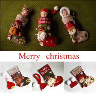 Newborn Photography Santa Theme photo sleeping bag socks photography Christmas set Christmas theme sleeping bag