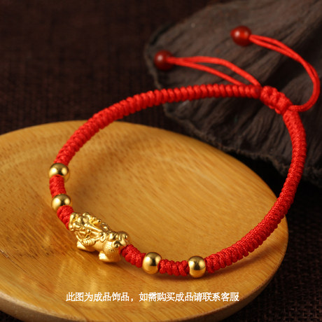 Gold Pixiu Bracelet 3d Hard Pure Gold 999 Gold Pixiu Transfer Pearl Passepartout Lucky Fortune Couples