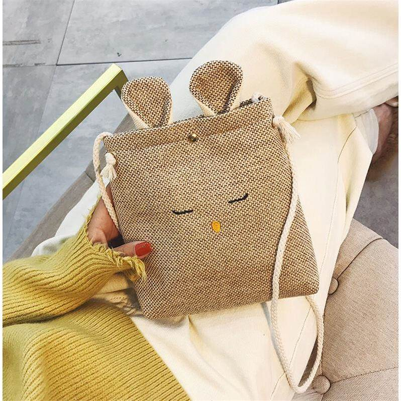 2018 New cute retro cloth mobile phone bag rabbit female bag cross-body Korean female students wild mini bag