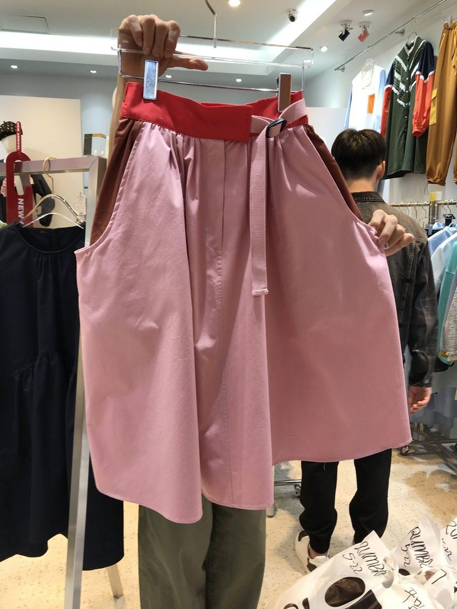 Dongdaemun, Hàn Quốc 2020 mùa hè mới co giãn eo khâu màu váy nữ thả lỏng eo cao váy ngắn - Váy