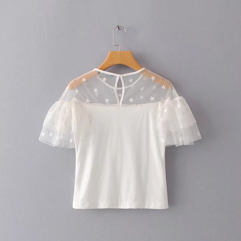 Europe and the United States 2018 summer new style slim shoulders perspective star Embroidery Cake layer yarn short-sleeved t shirt