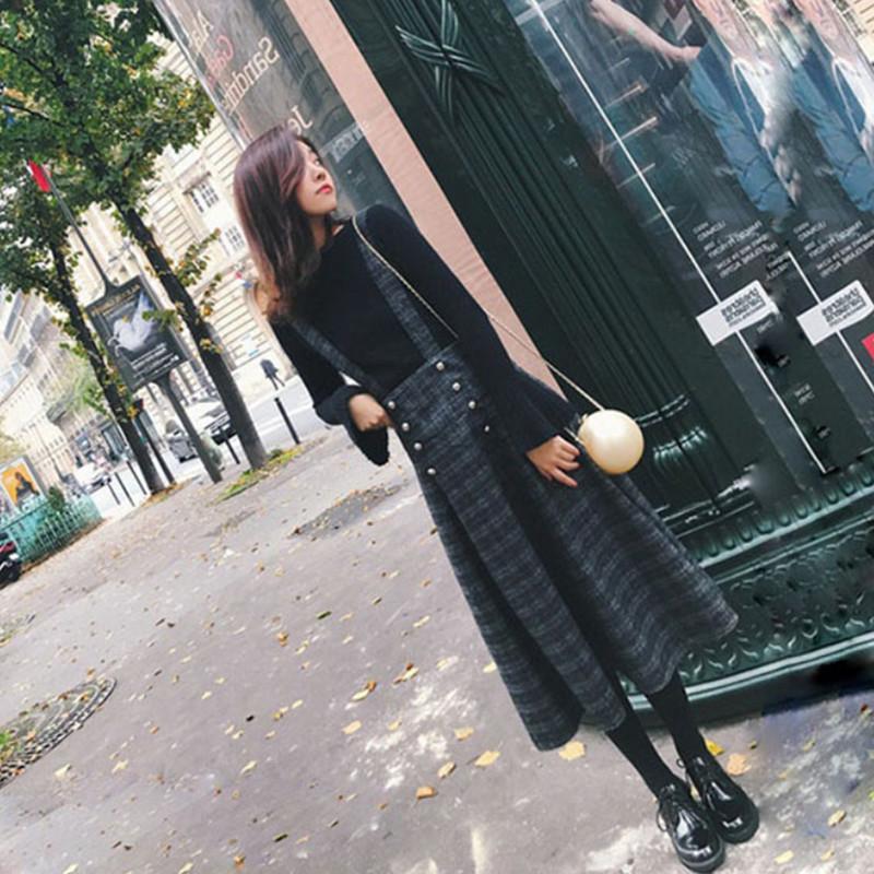 2018新款冬季背带裙子高腰格子伞裙复古a字秋冬半身长裙套装毛呢