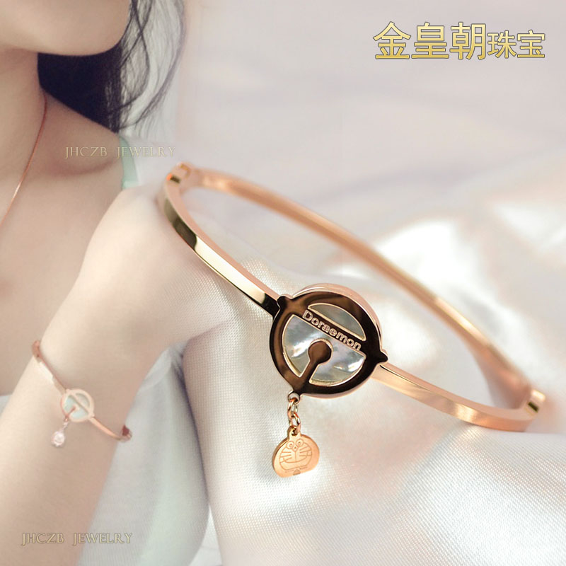 Robot cat blue fat Bell female mother of pearl bracelet rose gold  girlfriend birthday hypoallergenic woman 13206ec59b36d