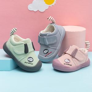 女宝宝学步鞋春秋季1一2-3岁软底婴儿鞋棉布防滑幼儿单鞋男童鞋子