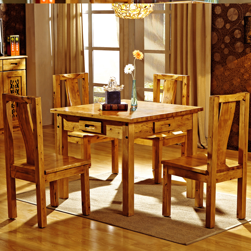 Dining Table And Chair Combination Solid Wood Square With Draw 6 People 8 B