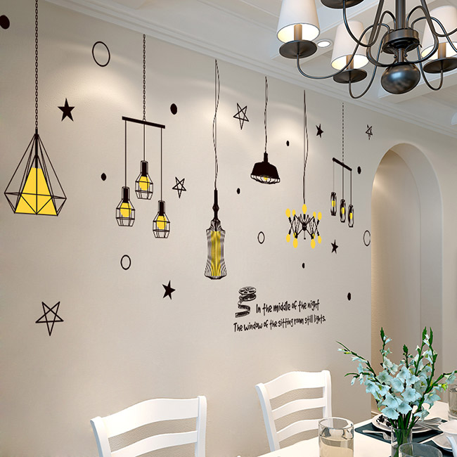 Creative Personality Chandelier Wall Stickers Restaurant Wall Decoration Stickers Entrance European Modern Minimalist Wall Painting Stickers