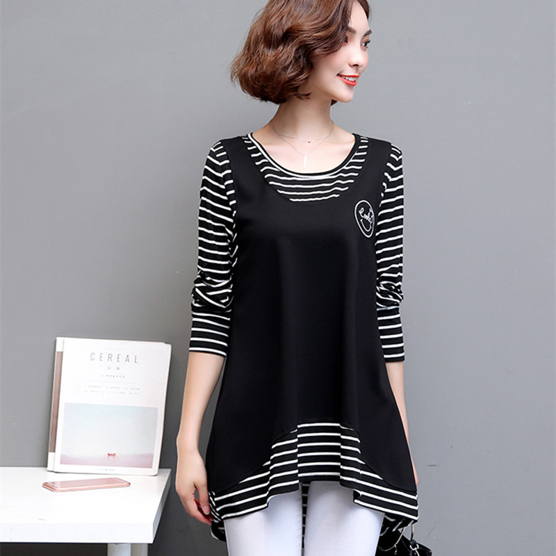 Fertilizer increase code T-shirt female long sleeve fat mm spring fake two striped top cover skinny bottom shirt 200 Jin