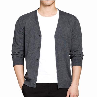 Mùa xuân và mùa thu Áo len mỏng nam Áo len cổ chữ V Áo len cổ điển Hàn Quốc Slim Áo len cotton nam - Áo len