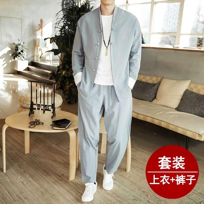 Trang phục, đồ cổ, vải lanh, bộ đồ Tang, phong cách Trung Quốc, Phật tử trẻ, quần áo nam Trung Quốc, quần áo Hán, quần áo giáo dân, quần áo trà - Trang phục dân tộc