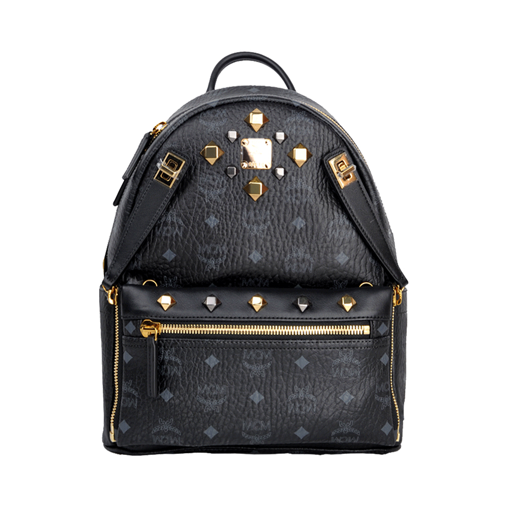 MCM men and women models Dual Stark buckle small backpack MMK6SVE80