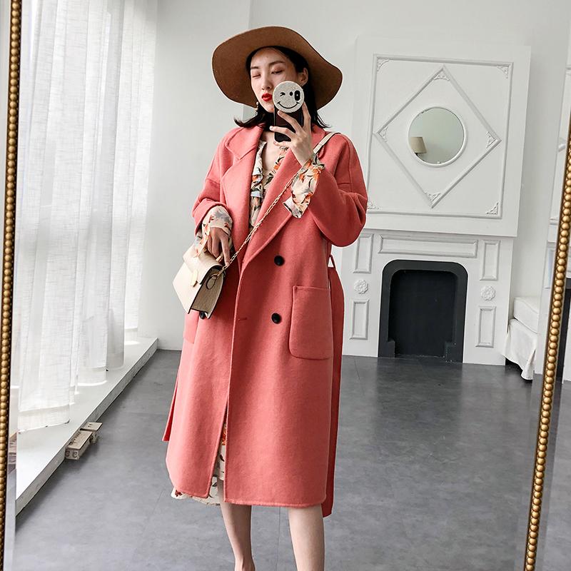 高端外套呢大衣女中长款2019新款双面粉色韩版宽松100%羊毛呢秋冬