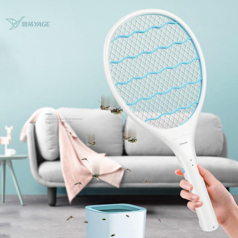 雅格电蚊拍充电式家用超强灭蚊灯二合一打蚊子香拍强力苍蝇拍神器