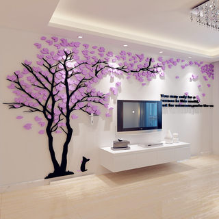 Creative tree 3d three-dimensional wall stickers acrylic painting the living room sofa TV backdrop creative decorative warm