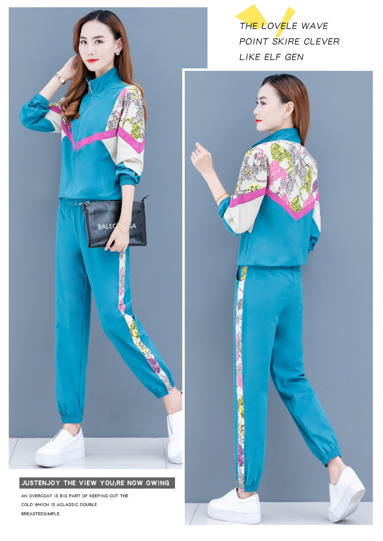 Clearance leisure sports suit women's spring and autumn 2020 new Korean version of the fashion color printing long sleeves thin two-piece set 51 Online shopping Bangladesh