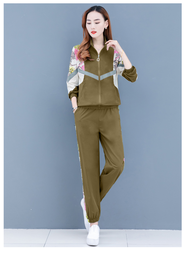 Clearance leisure sports suit women's spring and autumn 2020 new Korean version of the fashion color printing long sleeves thin two-piece set 60 Online shopping Bangladesh