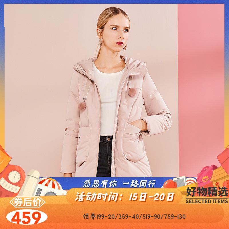ERAL/艾莱依2018冬季新品装饰毛球绳带中长款羽绒服601801271