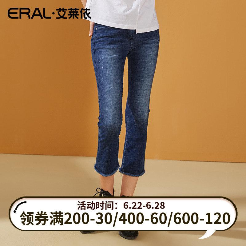 ERAL/艾莱依牛仔裤女秋裤子新款韩版修身显瘦直筒时尚