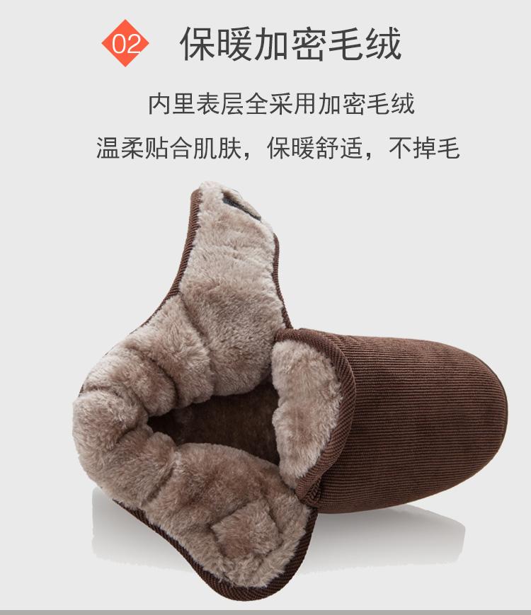 秋冬中年老人居家用防滑拖鞋男女包跟加绒保暖厚底柔软妈妈棉拖鞋详细照片