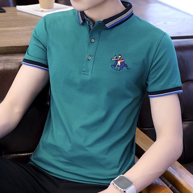 980df4dbdf9 ... mercerized cotton short-sleeved T-shirt men s lapel solid color · Zoom  · lightbox moreview · lightbox moreview ...