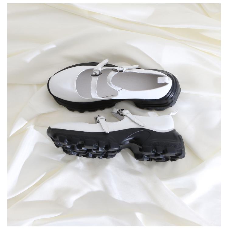 墨染·蓮花府邸2121秋季新款單鞋簡約歐美松糕鞋時尚厚底英倫小皮鞋百搭