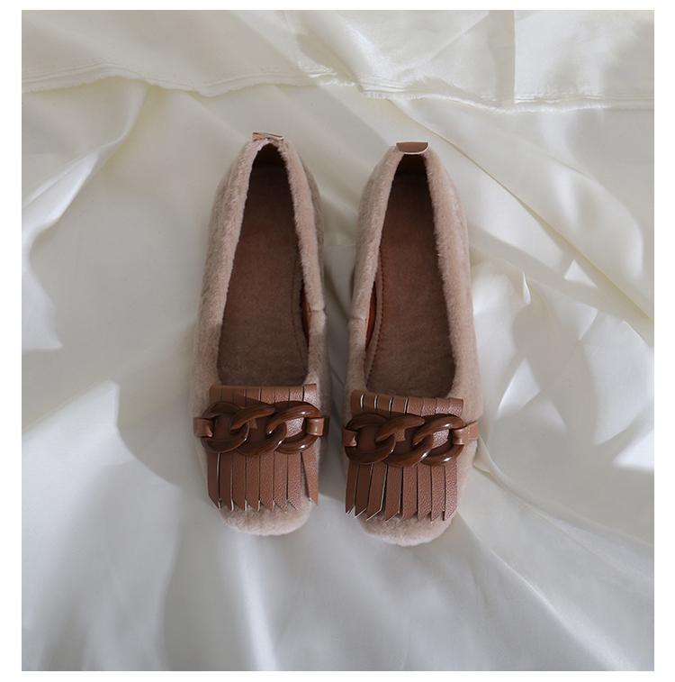 墨染·蓮花府邸冬季平底單鞋方頭簡約保暖豆豆鞋百搭淺口復古羊卷毛女鞋